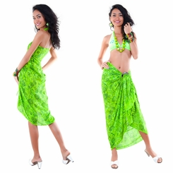 Abstract Rose Flower Sarong in Lime Green