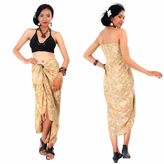Abstract Spiral Circle Design Sarong in Beige