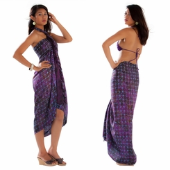 Abstract Star Sarong in Dark Purple