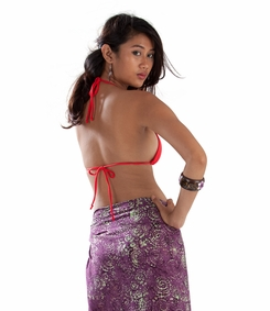 Abstract Swirl Half Sarong in Purple