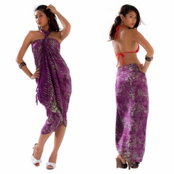 Abstract Swirl Sarong in Purple