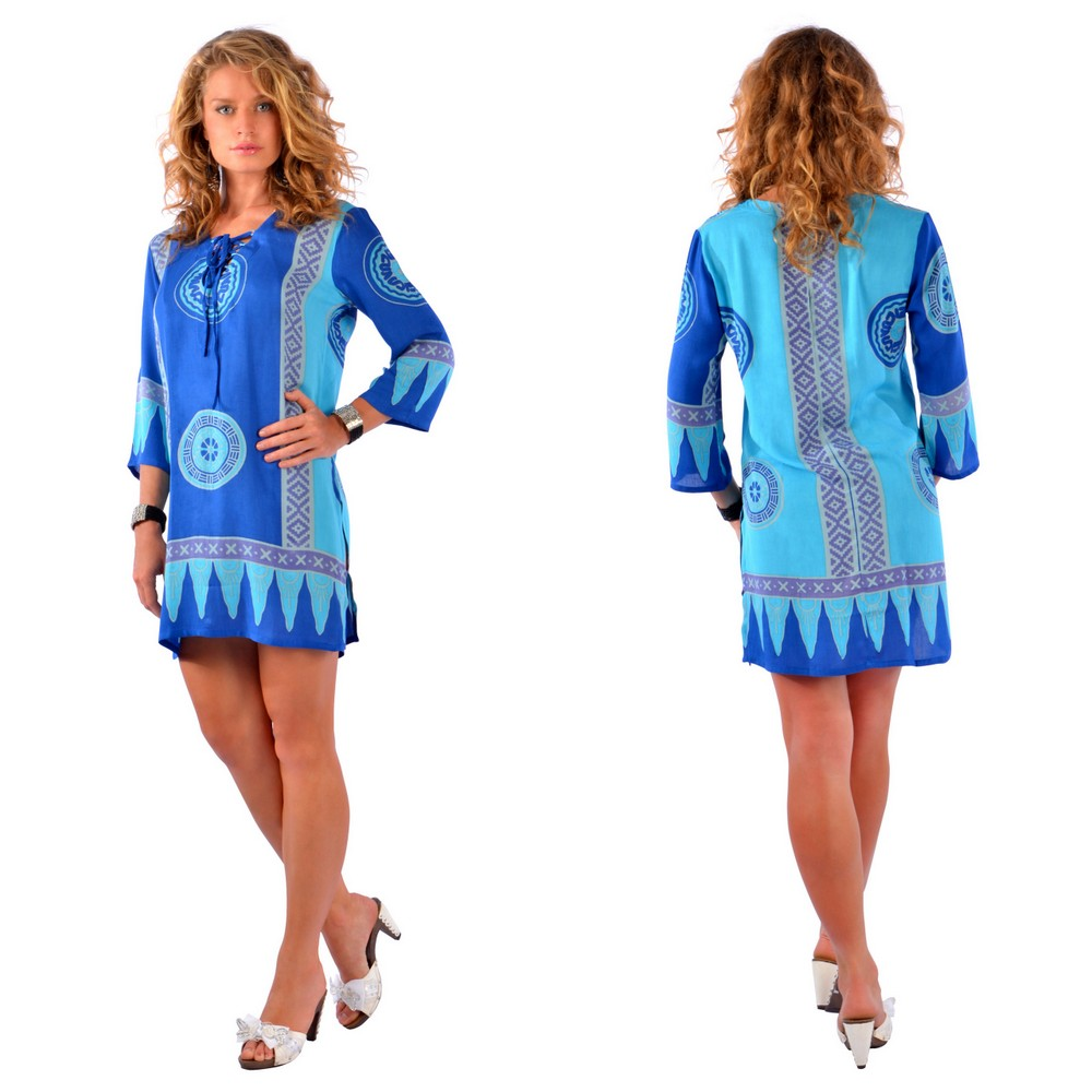 Abstract Tiki Beach Cover Up Tunic Dress in Turquoise / Blues
