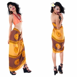 Abstract Tiki Sarong in Browns