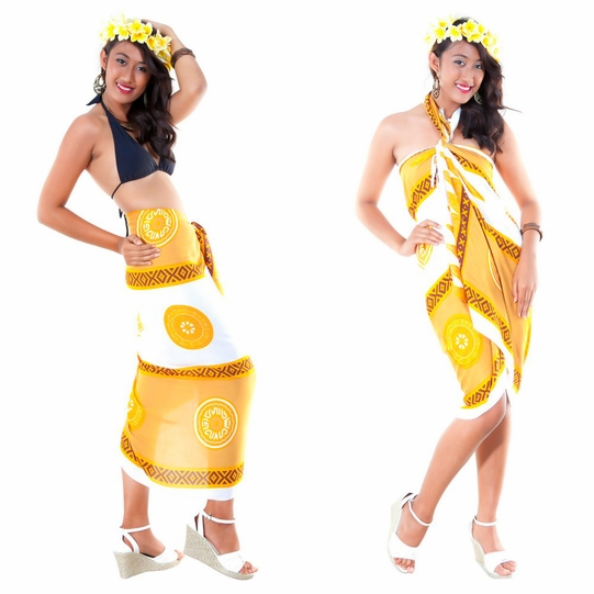 Abstract Tiki Sarong in White/Yellow/Brown