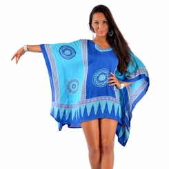 Abstract Tiki Poncho Cover-Up with V-Neck in Turquoise/Blues