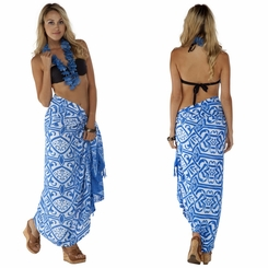 Abstract Tribal Sarong Light Blue