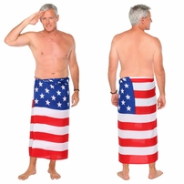 American Flag Mens Sarong - WE WILL DONATE $5 PER ORDER