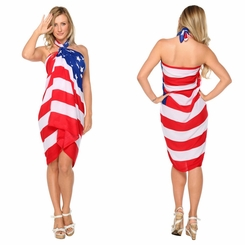 American Flag Sarong Fringeless - WE WILL DONATE $5 PER ORDER