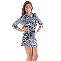 Animal Print Black / White Tunic Cover-Up with V-Neck and 3/4 Sleeves