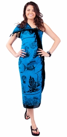 "Aquatic Life Sarong ""Light Blue Turquoise"""