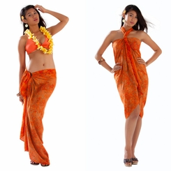 Bamboo Leaf Sarong in Orange