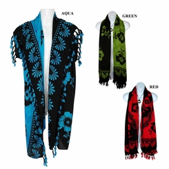 Black Hibiscus Floral Design Double Wide Scarf, Wrap or Shawl - in your choice of colors