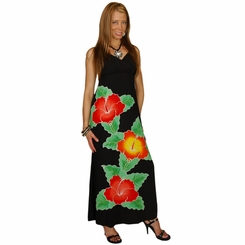 Black Womens Long V-Neck Dress with Floral Design