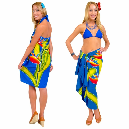 Blue Hand Painted Bird of Paradise Top Quality Sarong