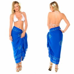Blue Sarong w/ Triple Embroidery