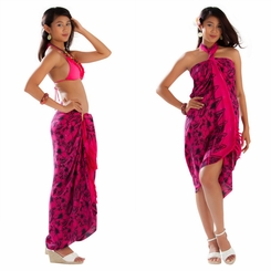 Bora Bora Floral Sarong in Hot Pink