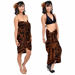 Celtic Circles Top Quality Sarong in Brown FRINGELESS