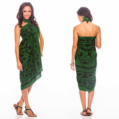 Celtic Circles Top Quality Sarong in Emerald Green FRINGELESS
