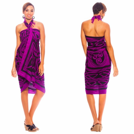 Celtic Circles Top Quality Sarong in Royal Purple FRINGED