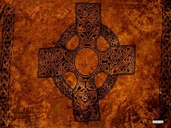 "Celtic Mens Sarong ""Celtic Cross 1"" Orange"