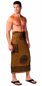 "Celtic Mens Sarong ""Celtic Cross 2"" Deep Brown"