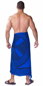 "Celtic Mens Sarong ""Celtic Cross and Circle"" Blue"