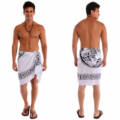 "Celtic Mens Sarong ""Horses"" Black / White"