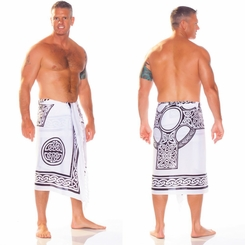 Celtic Mens Sarong in Celtic Cross 2 Black / White
