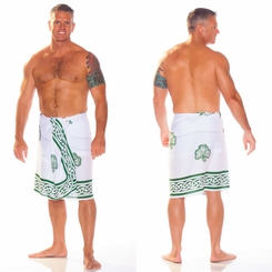 Celtic Mens Sarong in Shamrock Trinity White / Green