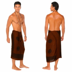 "Celtic Mens Sarong ""Interlace Knotwork"" Deep Brown"