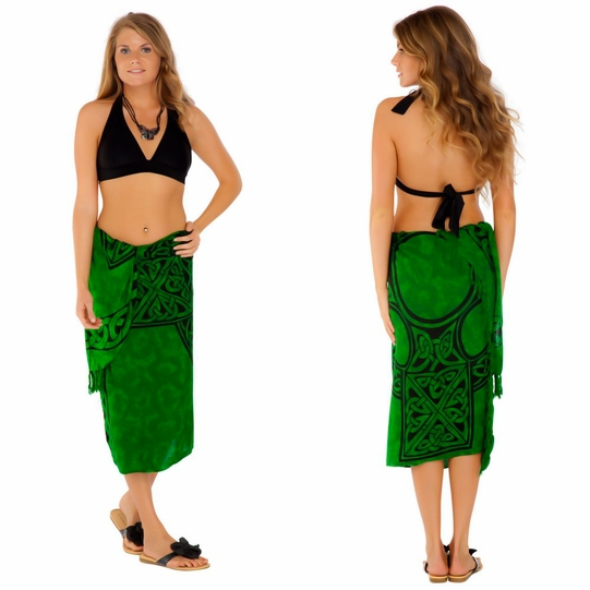 Celtic Sarong Celtic Cross 1 Emerald Green