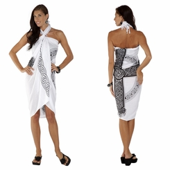 "Celtic Sarong ""Celtic Cross 3"" White"