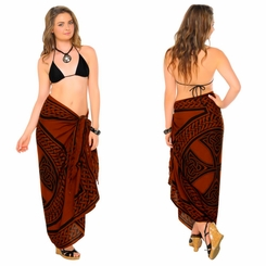 "Celtic Sarong ""Celtic Cross and Circle"" Brown"