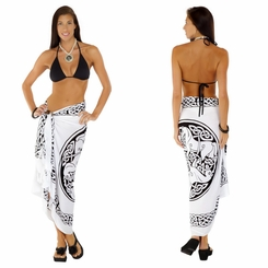 "Celtic Sarong ""Horses"" Black / White"
