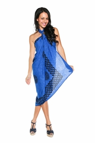 Celtic Sarong in Interlace Knotwork Royal Blue FRINGELESS