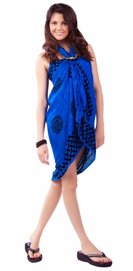 "Celtic Sarong ""Interlace Knotwork"" Royal Blue"