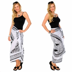 "Celtic Sarong ""Maiden and The Dragon"" Black / White"