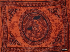 "Celtic Sarong, ""Maiden and The Dragon"" Burnt Orange"