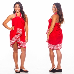 Celtic Tribal Border Top Quality Sarong in Deep Red  FRINGELESS