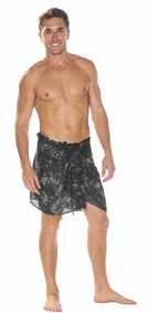 Charcoal Gray Smoked Half Mens Sarong