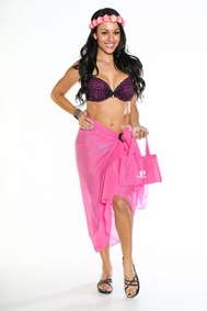 Cotton Sarong with a Bag in Dark Pink