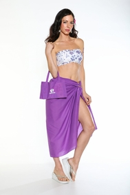Cotton Sarong with a Bag in Purple