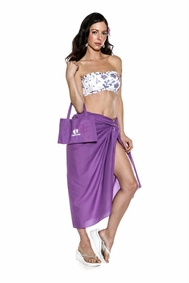 Cotton Sarong in Purple with a Bag