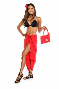 Cotton Sarong in Red with a Bag
