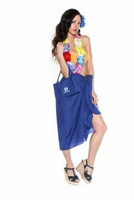 Cotton Sarong in Royal Blue with a Bag