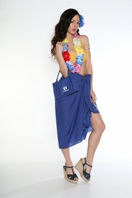Cotton Sarong with a Bag in Royal Blue