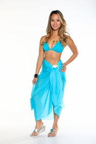 Cotton Sarong with a Bag in Turquoise