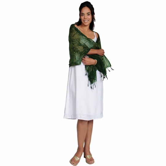 Dark Green Leaf Motif Gauze Scarf