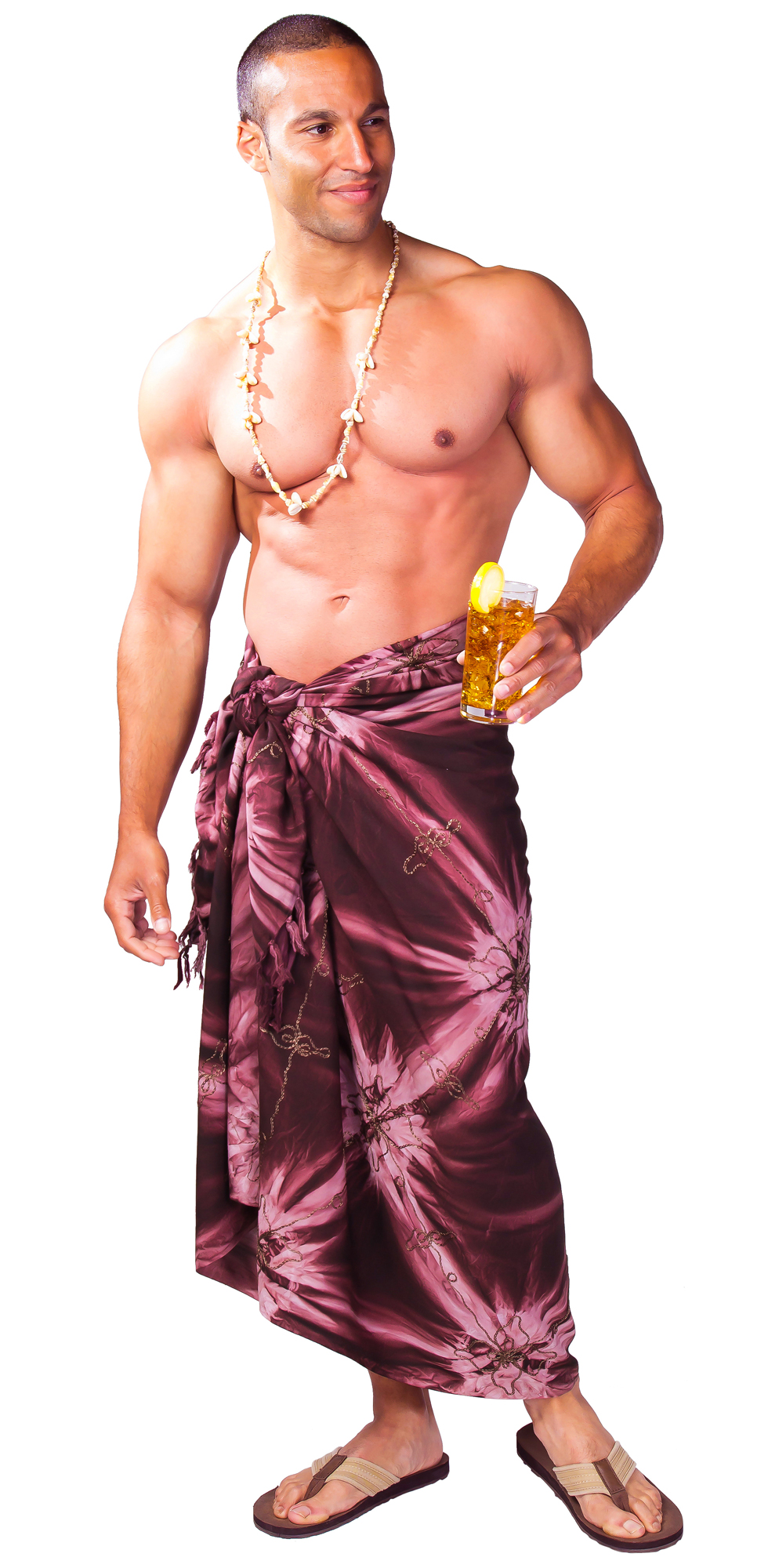 embroidered tie dye mens sarong quot brown quot