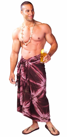 """Embroidered Tie Dye Mens Sarong """"Brown"""""""